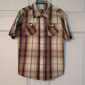 Yellow plaid short sleeve button up